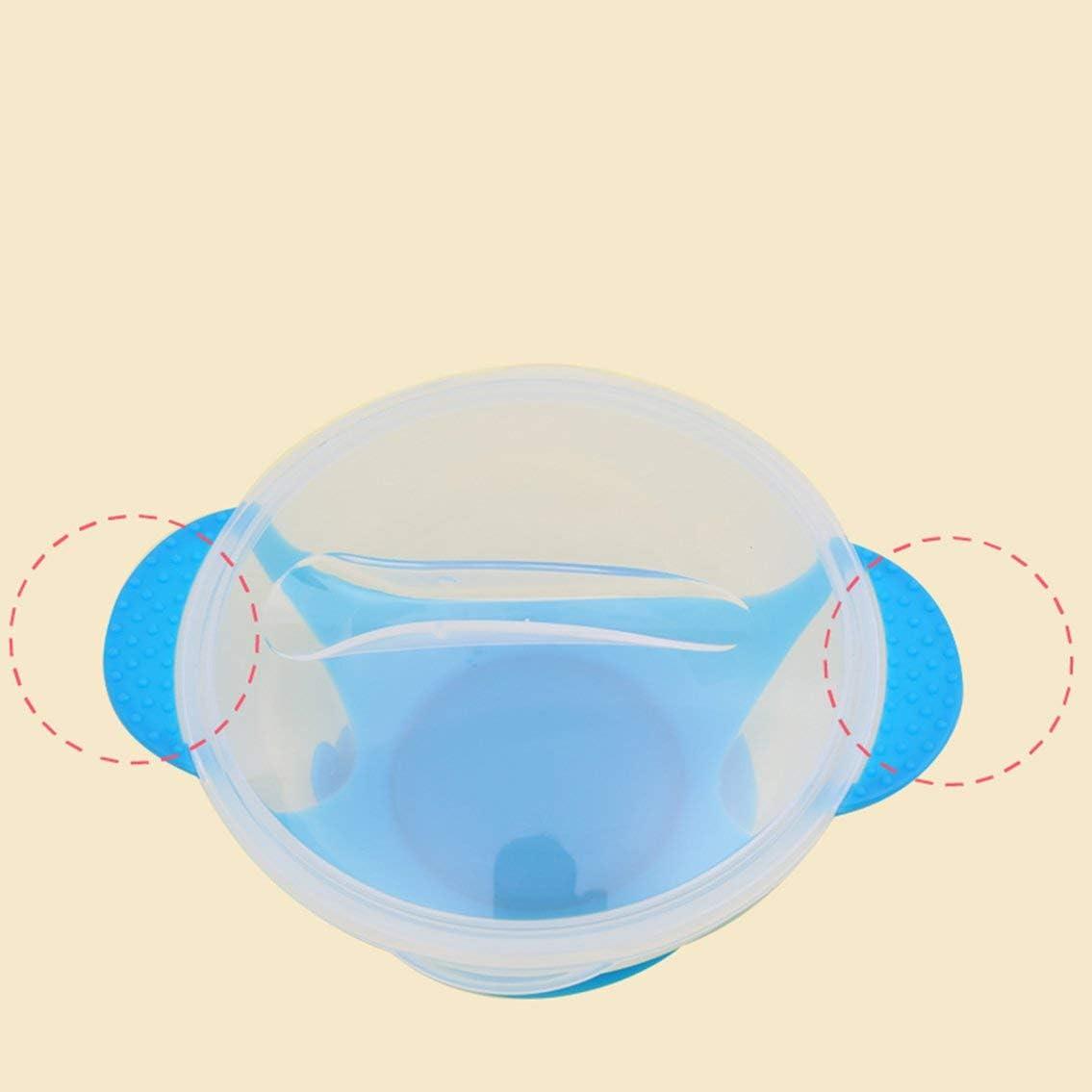 Cuchara de alimentaci/ón con sensor de temperatura Vajilla para ni/ños Plato de comida Platos de aprendizaje Plato//bandeja de servicio Juego de vajilla para beb/é rosa