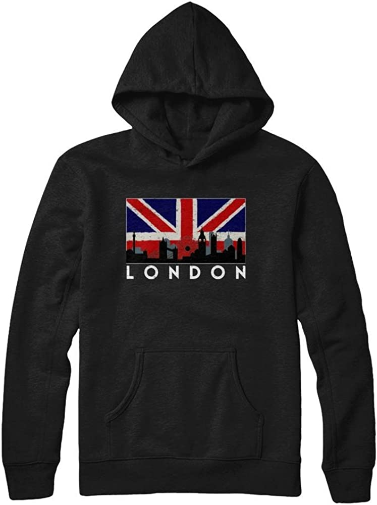 Pullover Hoodie Teely Shop Womens Womans London Skyline Vintage Look Union Flag Gildan