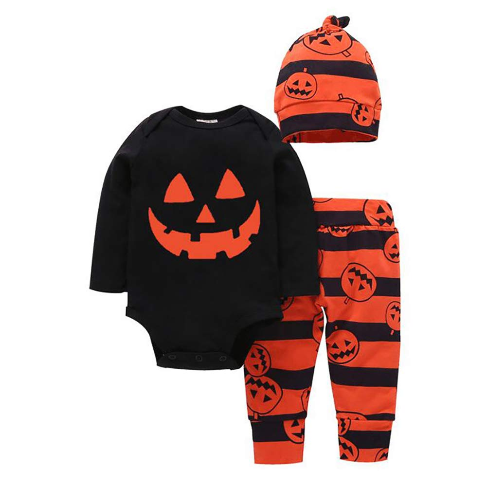 Baby Boy Girl Halloween Clothes Set Pumpkin Costumes Long Sleeve Romper Pant Hat 3 Pieces Outfit