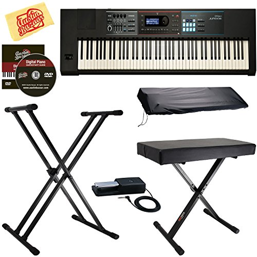 Roland JUNO-DS88 Synthesizer Bundle with Roland DP-10 Damper Pedal, Adjustable Stand, Bench, Dust Cover, Austin Bazaar Instructional DVD, and Polishing Cloth