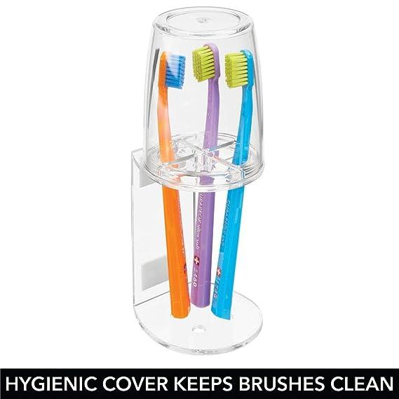 mDesign Vaso para cepillo de dientes - Portacepillos de calidad con tapa para el baño - Soporte para cepillos de dientes con cierre seguro y de plástico ...