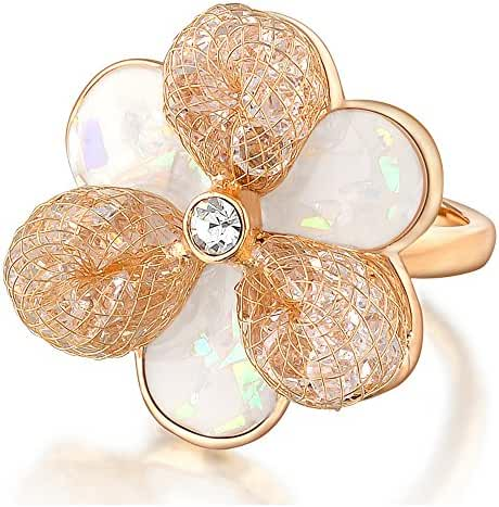 Mytys 18k Rose Gold Plated Fashion Mesh Crystal Shell Flower Statement rings Size 7