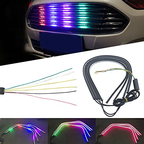 NSLUMO Auto Car Bumper Grilles Knight Rider Scanner Strip Decorated Light Bar 60cm RGB LED Strips Multicolor 5050SMD Led Braking Turning Signal Light Lamp Waterproof 12V (Pack of 4)