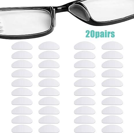 18 Paires Coussinets de Nez Adhésif Plaquettes de Nez en Silicone Antidérapante Lunettes de Soleil, 1 mm (Transparent et Noir)