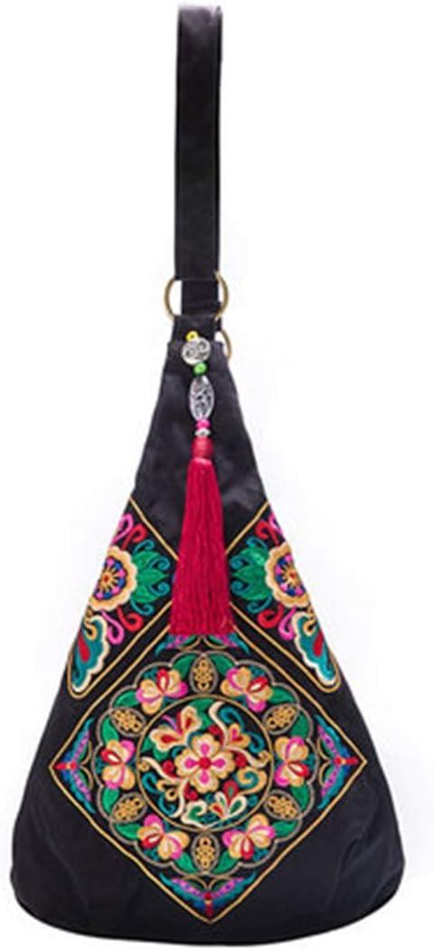 ACHAOHUIXI Bolso de Crossbody de Las Mujeres Cuero de la PU de Gran Capacidad de Bordado de impresión Bolsas de Hombro (Color : Red) Negro