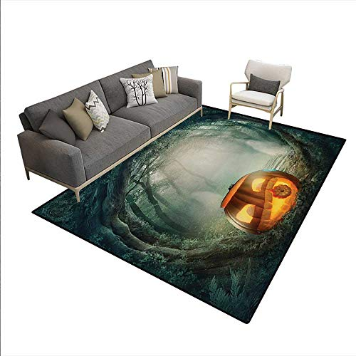 - Carpet,Drawing Scary Halloween Pumpkin Enchanted Forest Mystic Twilight Party Art,Customize Rug Pad,Orange Teal,6'x7'