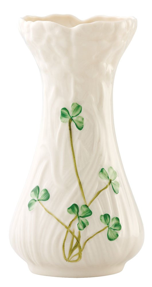 Belleek 1934 Daisy Toy Spill Vase - Handpainted shamrocks adorn the vase Made in ireland Fine pparian china - vases, kitchen-dining-room-decor, kitchen-dining-room - 51yN0a7oQKL -