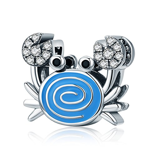 (Everbling Funny Crab Clear CZ Blue Enamel 925 Sterling Silver Bead Fits European Charm Bracelet)