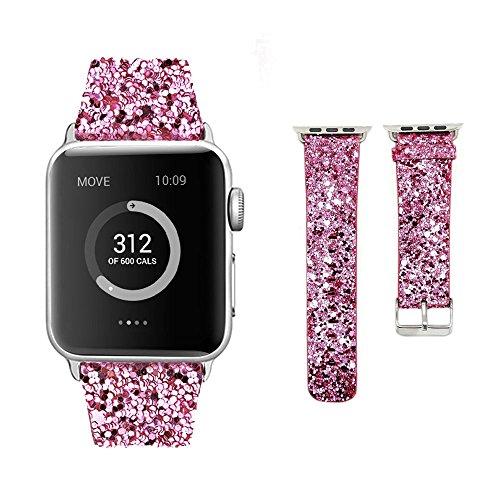 Apple Watch Bands 38mm, Moonooda iWatch Leather Wristband Replacement Women, Bling Glitter Strap Belt for Apple Watch Series 1/ 2 / 3 (Light Pink) Design Bling