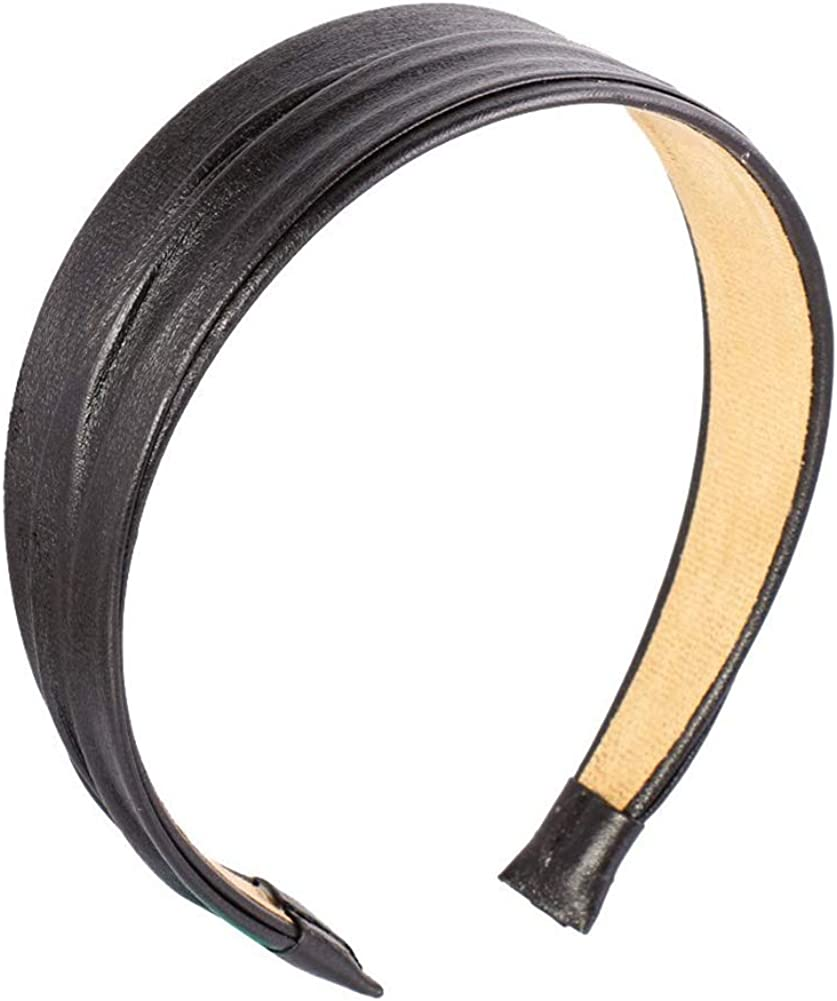 serre-t/ête Vintage accessori della moda in ecopelle di bande di capelli fascia/ /nero Nero