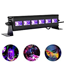 Viugreum 6X3W UV LED Black Light UV LED Bar Black Lights Fixture for Neon Clow Parties Fluorescent Tapestry Poster Paint Lighting DJ Stage - Metalic Black (18W)