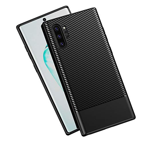 Z-Roya Galaxy Note 10 Plus Case, Carbon Fiber Texture TPU Ultra Thin Flexible Cover Premium Soft Silicone Dustproof Cover Shockproof Anti-Scratch Cover for Samsung Galaxy Note 10+ Plus 6.8-Black