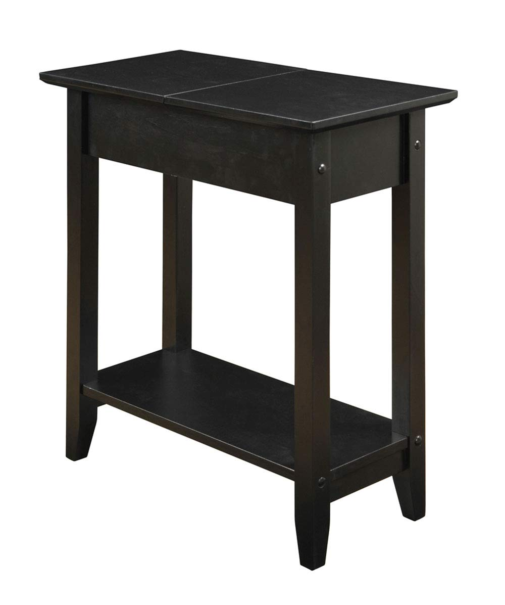 Chairside end table narrow sofa couchside tv coffee accent table black modern furniture with storage shelf for living room bedroom office e book by jn
