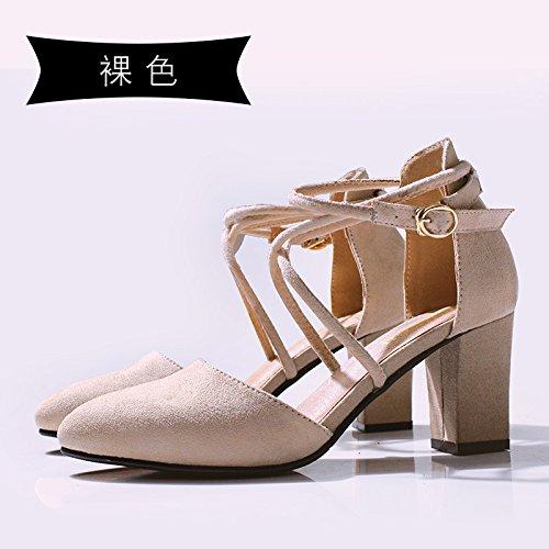 Jqdyl High Heels 018 neue Wort Schnalle Baotou Sandalen Sommer dick mit spitzen Schuuml;ler Mauml;dchen  36|Nude color