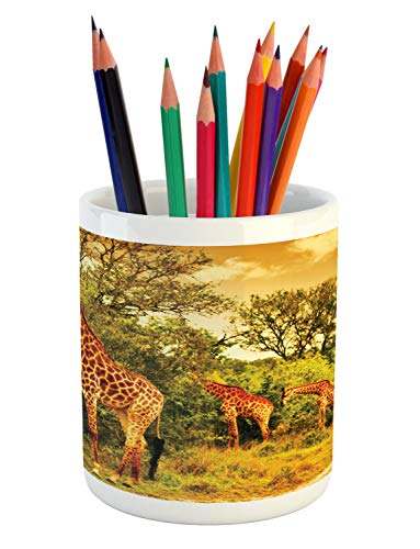 Ambesonne Giraffe Pencil Pen Holder, African Safari Animals Walking in The Green Forest Savannah Wildlife Theme, Printed Ceramic Pencil Pen Holder for Desk Office Accessory, Dark Orange Green