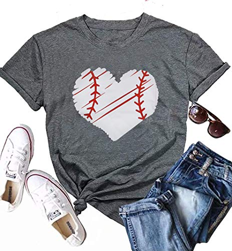 MYHALF Cute Graphic Tee Shirts for Women Teen Girls Baseball Heart Tee Shirts Tee Shirt Size S (Gray)