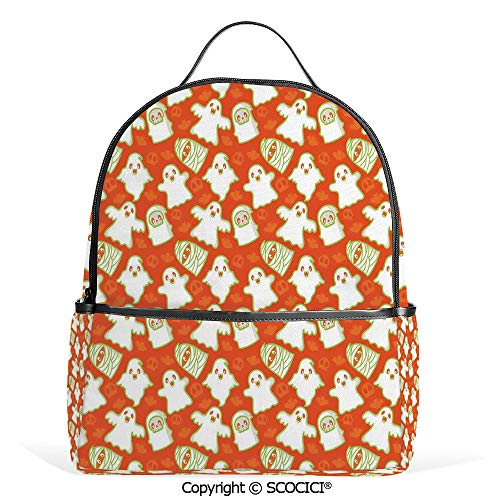 All Over Printed Backpack Funny Halloween and Demon Graphic on Skull and Bat Background Design Home Decorative,Orange White Green,For Girls Cute Elementary School -