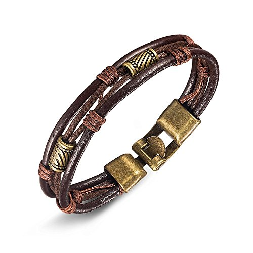 Leather Wrist,UHIBROS Mens Vintage Band Brown Rope Bracelet Bangle 8.5 Inch