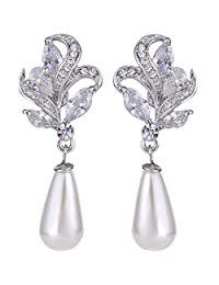 Ever Faith Silver-Tone CZ Crystal Cream Simulated Pearl Flower Teardrop Dangle Earrings Clear N05954-1