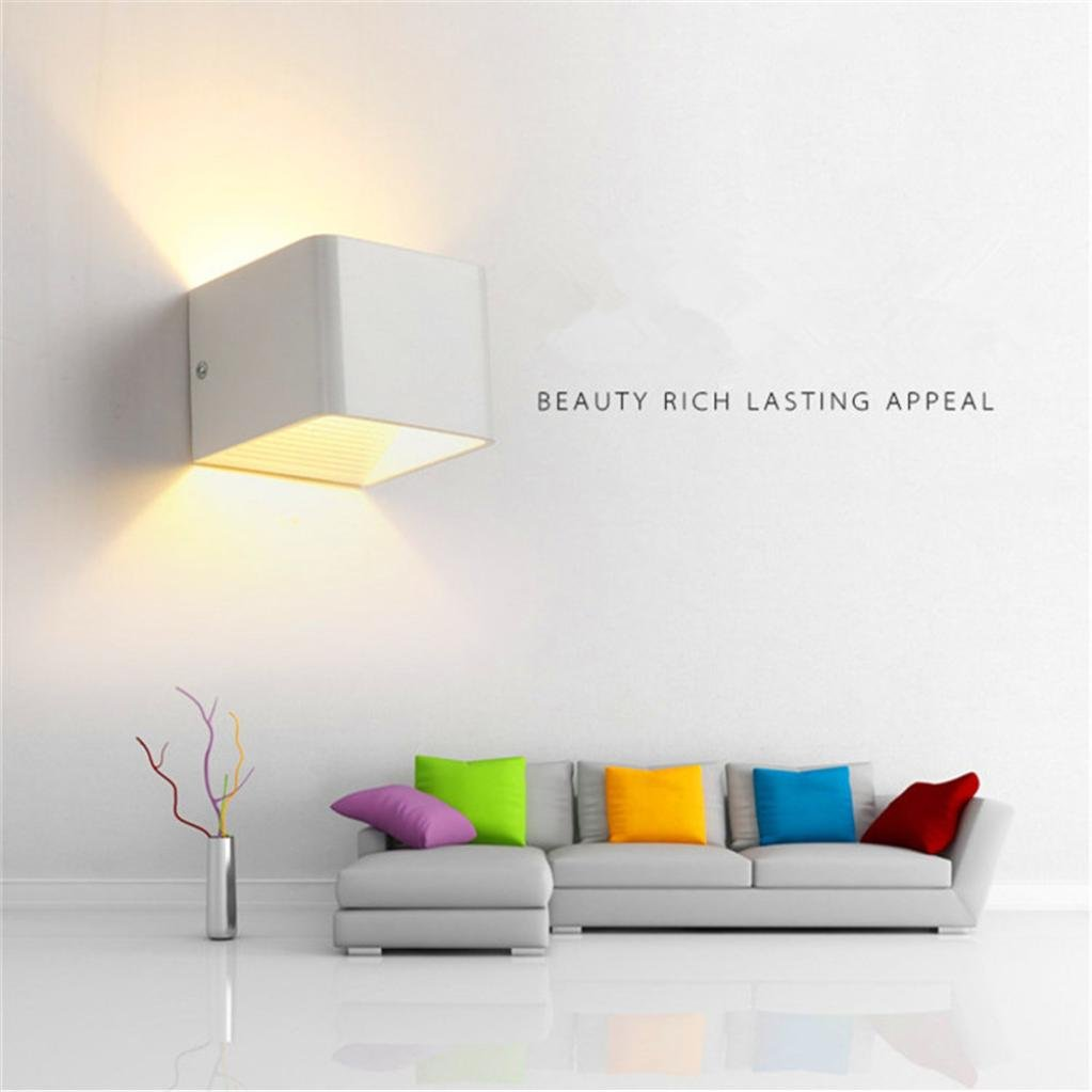 Iuhan Wall Sconces, Wall Lights LED 3W Aluminum Colorful RGB Light Wall Sconces Home Decoration (white) by Iuhan (Image #3)