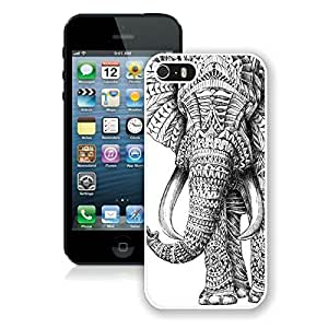 BINGO most popular Aztec Elephant Rubber iPhone 5 5S Case White Cover