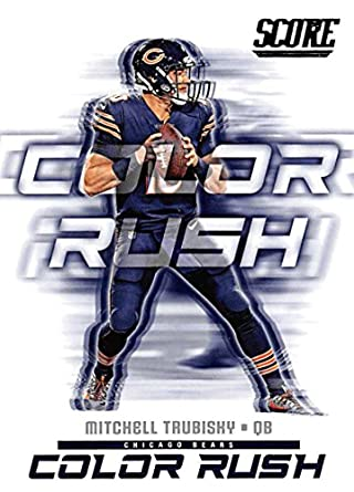 2018 Score Color Rush  19 Mitchell Trubisky Chicago Bears Football Card 8f1d03303
