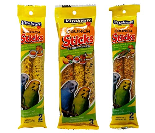 Vitakraft Triple Crunch Sticks 3 Pack Flavor Variety Bundle, 1 Each: Egg Honey 2-Pack, Whole Grains Orange 2-Pack, Orange/Egg Honey/Sesame Banana 3-Pack (7 Sticks) (Parakeet Orange Sticks)