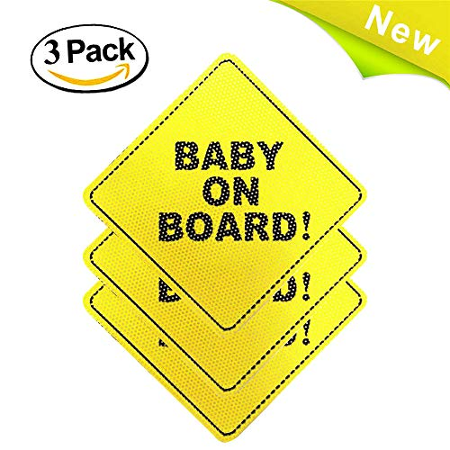 Damaiu Baby on Board Sticker,Baby on Board Sign, Baby Car Sticker, Baby Car Decal, See Through When Reversing-Unobstructed View, Weatherproof Durable, No Need for Suction Cups or Magnets (The Window See Through)