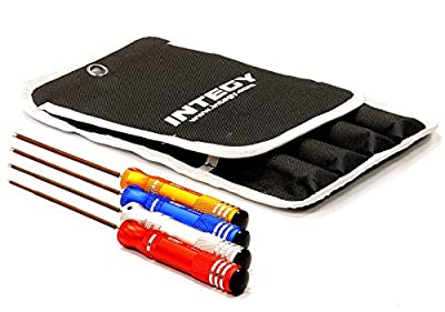 Integy Hobby RC Model C24367 UltraGrip 4pcs Spring Steel Metric Size Allen Hex Wrench Set w/ Carrying Case