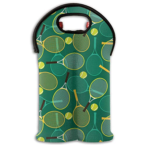 XUQI-HOT Tennis Sport Green Pattern 2-Bottle Wine Tote Bag Carrier Bag with Handle -