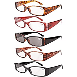 Eyekepper Spring Hinge Plastic Reading Glasses (5 Pack Mix) Includes Sunglass Readers Women +1.5