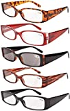 Eyekepper Spring Hinge Plastic Reading Glasses (5 Pack Mix) Includes Sunglass Readers Women +3.5