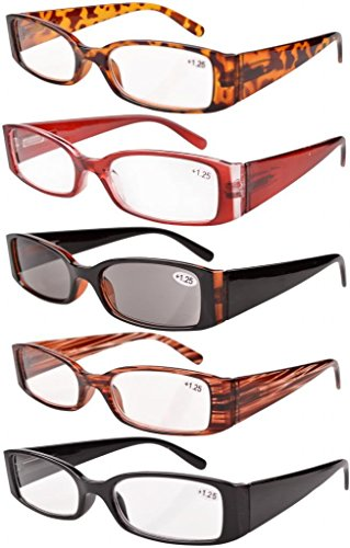 Eyekepper Spring Hinge Plastic Reading Glasses (5 Pack Mix) Includes Sunglass Readers Women - 1.75 Sunglasses
