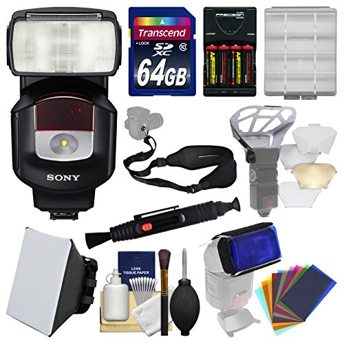 Sony Alpha HVL-F43M Flash with Video Light with Soft Box + Diffuser Bouncer + Color Gels + 64GB Card + Strap + Batteries + Kit by Sony