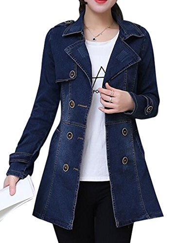 SYTX Womens Warm Lapel Collar Double Breasted Denim Trench Coats Denim Blue 2XL