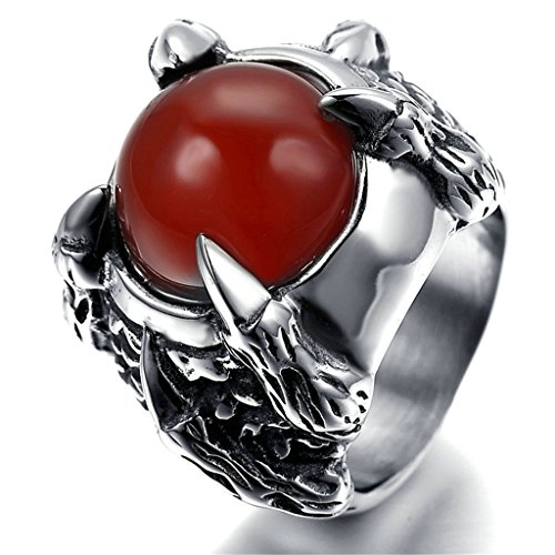 Stainless Steel Ring for Men, Claw Ring Gothic Silver Band 1515MM Size 10 - Tone Mean Skin What Does