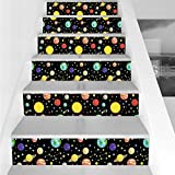 Stair Stickers Wall Stickers,6 PCS Self-Adhesive,Space,Comets and Constellations Stars with Polka Dots Earth Sun Saturn Mars Solar System,Multicolor,Stair Riser Decal for Living Room, Hall, Kids Room