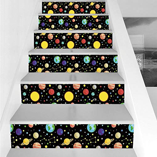 Stair Stickers Wall Stickers,6 PCS Self-Adhesive,Space,Comets and Constellations Stars with Polka Dots Earth Sun Saturn Mars Solar System,Multicolor,Stair Riser Decal for Living Room, Hall, Kids Room by iPrint