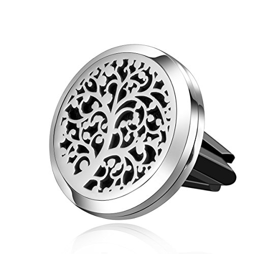 Car Air Freshener Aromatherapy Essential Oil Diffuser Vent Clip- 4 Legged Stainless Steel (Tree of Giving)