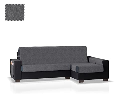 JM Textil Cubre Sofa Chaise Longue Larissa Personalizable, Brazo Derecho Color Gris