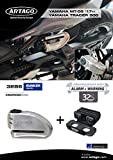 Artago 32S6 Anti-Theft Disc Lock with Alarm 120db High Range and Support for Yamaha MT-09 and Tracer 900, S.A.A Closure, SRA Approved, Bunker Selection, Stainless Steel