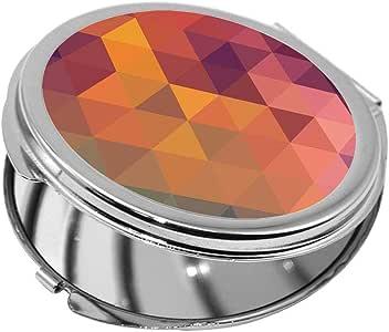 مرآة جيب، بتصميم مربعات ملونة ، شكل دائري