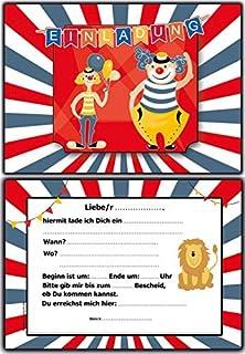 Einladungskarten Kindergeburtstag Zirkus Clown   10 Stück Im Set Jungen  Mädchen Ausgefallen Lustig Kinder Einladung Geburtstagseinladung