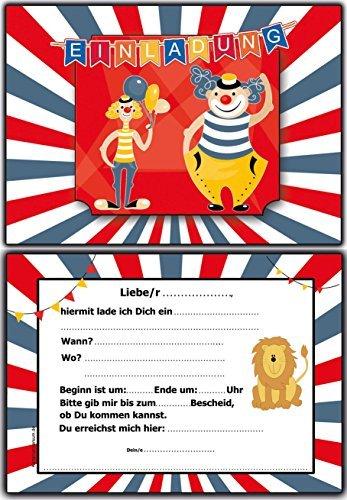 Einladungskarten Kindergeburtstag Zirkus Clown   10 Stück Im Set Jungen  Mädchen Ausgefallen Lustig: Amazon.de: Bürobedarf U0026 Schreibwaren