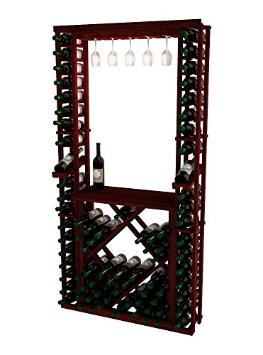 Wine Cellar Innovations RP-CM-GRDIAMDSKIT-A3 Traditional Series Tasting Center Bundle Glass, Table Top, Individuals and Open Diamond Bin Wine Rack, Rustic Pine, Classic Mahogany - Rack Individual Diamond