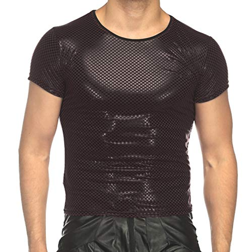 Sex icon Men Nightclub Sports Elastic Faux Leather Tight T-Shirts Undershirt