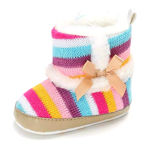 Fnnetiana Infant Baby Girl Rainbow Stripe Coral Fleece Snow Boots Bowknot Winter Warm Crid Shoes for Toddler
