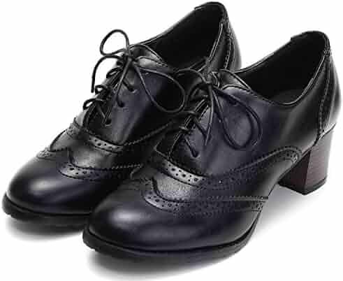 d674ba40e4 Odema Womens PU Leather Oxfords Brogue Wingtip Lace up Chunky High Heel  Shoes Dress Pumps Oxfords