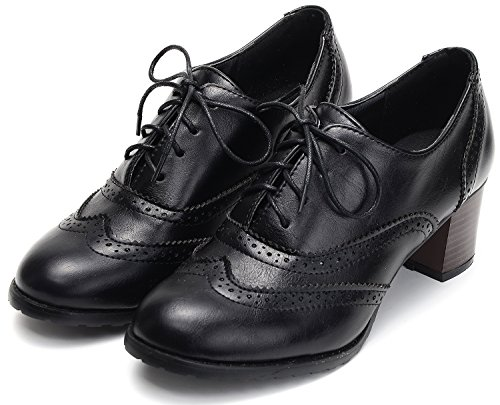 (Odema Womens PU Leather Oxfords Brogue Wingtip Lace up Chunky High Heel Shoes Dress Pumps Oxfords Black)