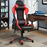 Giantex Gaming Chair Racing Chair Ergonomic Office Chair w/ High Back Lumbar Support and Pillow Executive Computer Task Desk Gaming Chair (Red)